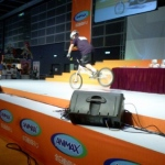 Shaun showing his impressive trail biking skills on stage.