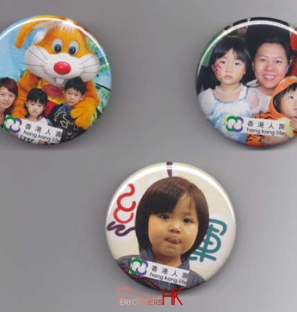 3 badges used as reference for clients for badge making activity give away