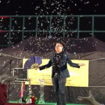 Patrick performing snow storm trick that wows the audience.