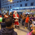 Santa with Santa girl and Elf outside the Sogo TST