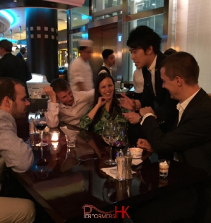 Hong Kong magician performing table magic at CFA Corporate event at peak