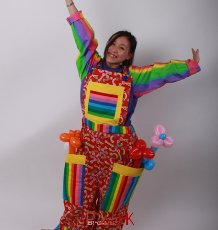 Hong Kong female roving balloons clown in a colorful clown costume for a corporate festival event