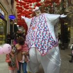 Children are certainly curious about the giant Easter bunny!