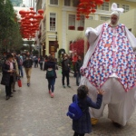 The Giant Easter Bunny attracts loads of attention from pedestrians.