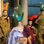 Our girls in mixed color cancan costumes at HKCEC annual dinner performance in Hong Kong.