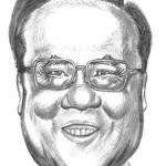 Caricature of the former Chief Executive of Hong Kong.