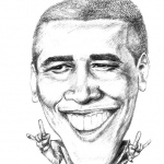 Caricature of Barack Obama.