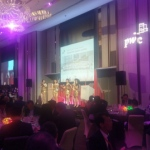 Musicians performing on stage at an annual dinner event in Hong Kong, W hotel
