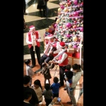 Xmas music trio band playing in front of kids and family at shopping mall in HK 2015