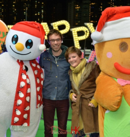 Mascots with guests at Hk jockey club 2015