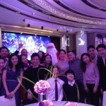 Group photo with Santa John at wedding event at Grand Hyatt