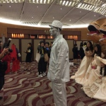 Silver man statue performer at annual dinner event HKCEC Wan Chai 2017