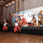 African dancers and drummers at event in Four Seasons hotel
