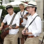 Trio musician playing at Lee tung avenue opening event, wan chai Hong Kong