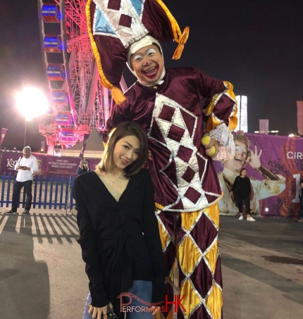 gala stilt walker from performers hk at the harbour front Central, hong kong