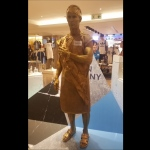 Golden Roman statue at SOGO for Swatch