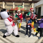 Snowman costume sax player with Grooves at Repulse Bay 109