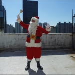 Santa Davy in hong kong roof top bring christmas cheers