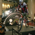 Our trail biker performing in Times Square Hong Kong.