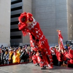 Lion Dance attracting crowds at a Chinese New Year event.