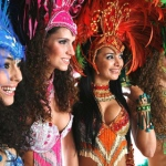 Brazilian dancers in their authentic bright and beautiful samba costumes