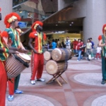 Drum team performing at Time Square for the HK Rugby 7s promotion event